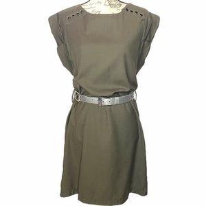 👗👖F21 Army Green Black Button Detail Shift Dress